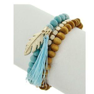 Jewelry - Semi Precious Stone Feather & Tassel Bracelet